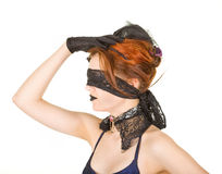 Girl blindfolded Stock Photo