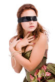 Girl blindfolded and cross hands Stock Photography