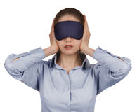 Girl blindfolded stopped up their ears Royalty Free Stock Images