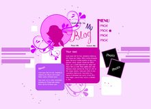 Girl blog web site template Royalty Free Stock Photography