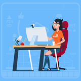 Girl Blogger Sit At Computer Streaming Video Blogs Creator Popular Vlog Channel. Flat Vector Illustration stock illustration