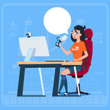 Girl Blogger Sit At Computer Streaming Video Blogs Creator Popular Vlog Channel. Flat Vector Illustration Royalty Free Stock Images