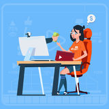 Girl Blogger Sit At Computer Streaming Video Blogs Earn Money Creator Popular Vlog Channel. Flat Vector Illustration vector illustration