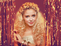 Girl with blond curly hair Stock Photo
