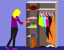 So Girl!. A blond deciding what to wear today stock illustration