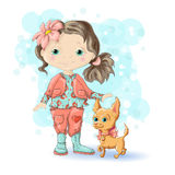 Girl blond gold 1. Cute cartoon girl with her pet. Vector illustration Royalty Free Stock Images