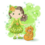 Girl blond gold 1. Cute cartoon girl with her pet. Vector illustration Royalty Free Stock Photography