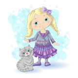 Girl blond gold 1. Cute cartoon girl with her pet. Vector illustration Stock Photo