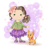 Girl blond gold 1. Cute cartoon girl with her pet. Vector illustration Royalty Free Stock Photo