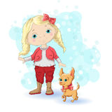 Girl blond gold 1. Cute cartoon girl with her pet. Vector illustration Royalty Free Stock Photos