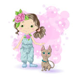 Girl blond gold 1. Cute cartoon girl with her pet. Vector illustration Stock Images