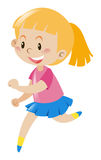 Girl with blond hair running. Illustration Royalty Free Stock Photo