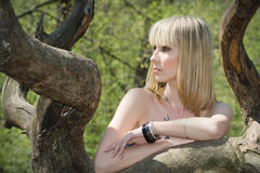 Girl of blond on nature in tree. Royalty Free Stock Photography