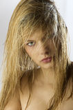 Girl blond wet hair Royalty Free Stock Photography