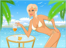 Girl the blonde on beach Royalty Free Stock Photo