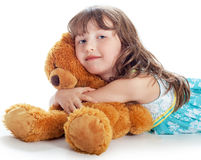 The girl the blonde with a bear Royalty Free Stock Images