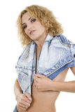 Girl blonde and jeans Royalty Free Stock Photography