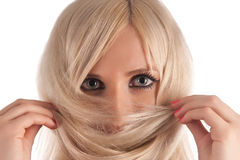 Girl, the blonde looks at you Stock Images