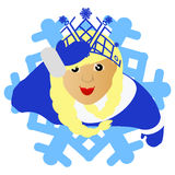 The girl the blonde Santa Claus in the form of a snowflake an icon. on  white fone.dlya  the press, undershirts, t-shirts, fabric,. The girl the blonde Santa Royalty Free Stock Photos