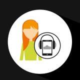 Girl blonde smartphone headphones music online Stock Photo