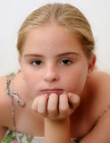 Girl blonde thoughtful Stock Photo