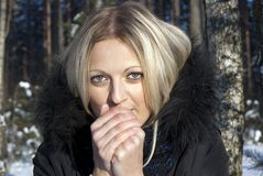 Girl blonde warm hands in the winter in nature Royalty Free Stock Photos