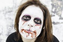 Girl bloody and sad Stock Image
