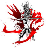 Girl with the bloody sword. Samurai girl with wings of blood Stock Photography