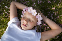 Girl with blossom in her hair Royalty Free Stock Photo