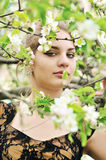 Girl in blossom of tree Stock Photos