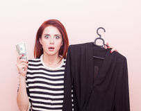 Girl with blouse and money Royalty Free Stock Image