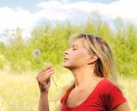 Girl blow on dandelion Royalty Free Stock Images