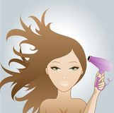 Girl blow dring hair Royalty Free Stock Image