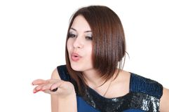 Girl blow kisses to smb Royalty Free Stock Image