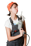 Girl blow out drill after work Royalty Free Stock Photos