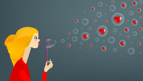 Girl blow soap bubble Stock Photography