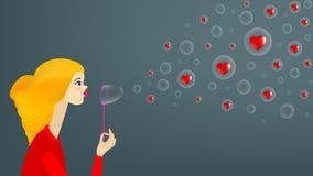 Girl blow soap bubble vector illustration