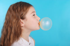 Girl Blowing A Big Bubble Gum Bubble Royalty Free Stock Photos