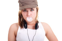 Girl blowing bubble gum Royalty Free Stock Photography