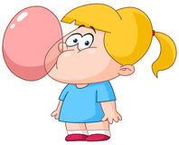 Girl blowing bubble from gum. Little girl blowing bubble from gum Stock Photography