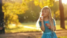 Girl blowing bubbles. Little girl blowing soap bubbles at sunset stock video