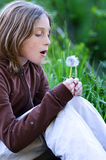 Girl blowing a dandelion stock image