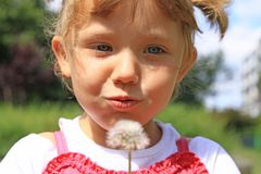 Girl blowing a dandelion Royalty Free Stock Photo