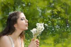 Girl blowing on a dandelion. Spring royalty free stock image