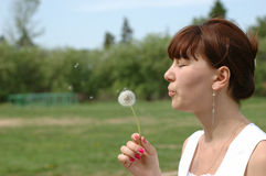 Girl blowing dandelion. Young female blowing dandelion in a sunny day Royalty Free Stock Image