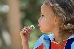 Girl blowing dandelion. More images of this session in my portfolio Royalty Free Stock Images