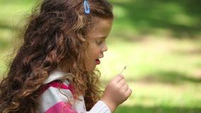 Girl blowing on a dandelion. In a park stock footage