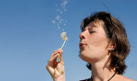 Girl blowing dandelion seeds Stock Image