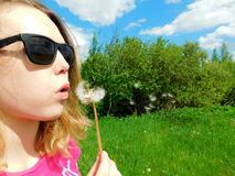 A girl is blowing dandelion stock photos