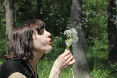 Girl blowing dandelions royalty free stock images